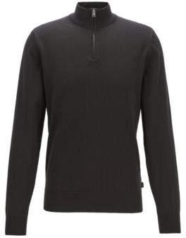 BOSS Zip-neck sweater in single-jersey cotton