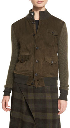 Ralph Lauren Collection Suede-Front Sweater Jacket, Olive $2,590 thestylecure.com