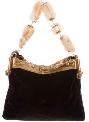 Giuseppe Zanotti Velvet Mink-Trimmed Bag