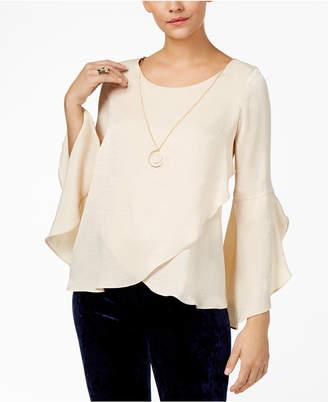 Thalia Sodi Ruffled Necklace Top