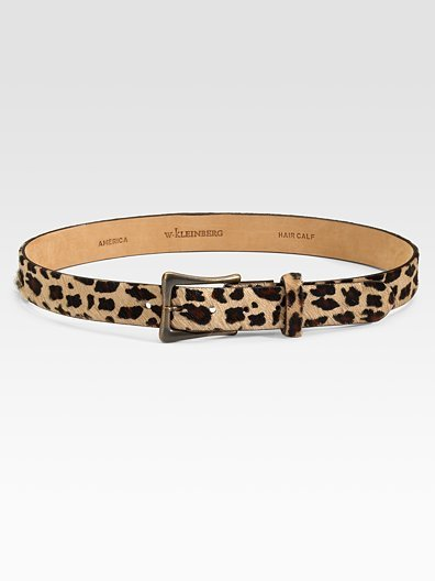 W. Kleinberg Leopard Haircalf Belt