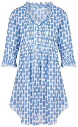 At Last. - Annabel Cotton Tunic Mini Blue Pineapples