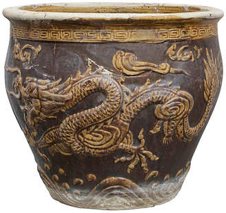 One Kings Lane Vintage Chinese Glazed Dragon Planter - de-cor
