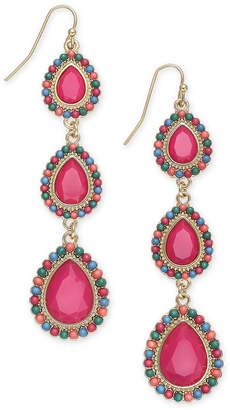 Thalia Sodi Gold-Tone Beaded Stone Teardrop Linear Drop Earrings, Created for Macy's