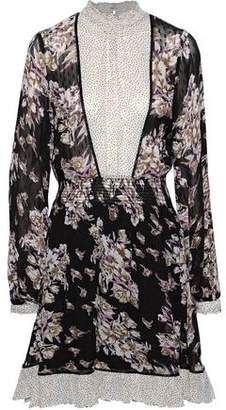 By Ti Mo Bytimo Paneled Shirred Floral-print Fil Coupe Georgette Dress