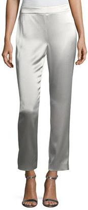St. John Collection Emma Liquid Satin Cropped Pants, Platinum $495 thestylecure.com