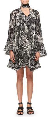 Chloé Dotty Flowers Tie-Neck Dress