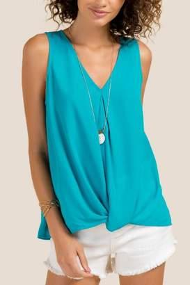francesca's Gloria V Neck Twist Front Top - Turquoise