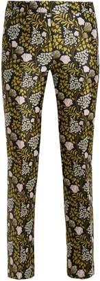 Giambattista Valli Floral-jacquard kick-flare trousers