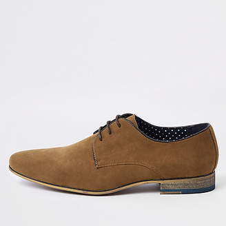 River Island Mens Brown suede lace-up derby shoes