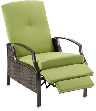 Bed Bath & Beyond Wicker Deep Seating Outdoor Recliner with Lime Cushions