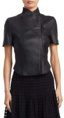 Akris Punto Short-Sleeve Leather Biker Jacket