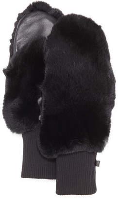 Glamour Puss Glamourpuss NYC Rabbit Fur/Knit Mittens, Black