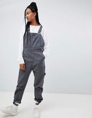 Dickies overalls with chest logo in fine stripe