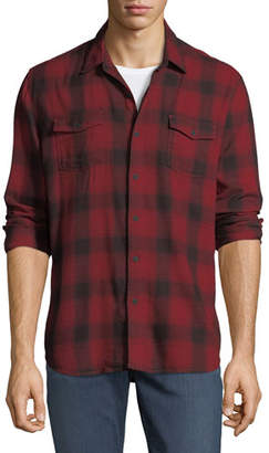 Paige Everett Long-Sleeve Plaid Sport Shirt