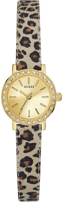 GUESS Women's Blue Animal Print Leather Strap Watch 23mm U0885L4 $75 thestylecure.com
