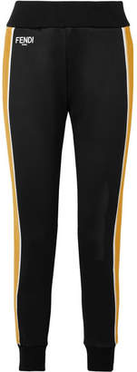 Fendi Roma Printed Velvet-trimmed Stretch-ponte Track Pants - Black