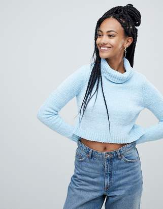 Asos DESIGN crop sweater with high neck in chenille