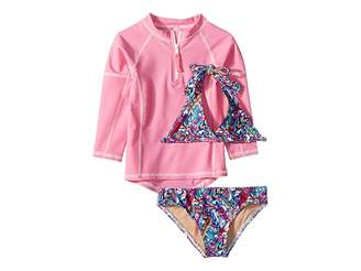Toobydoo Funky Feathers Bikini Pink Rashguard Set (Infant/Toddler/Little Kids/Big Kids)