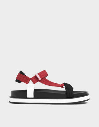 Charles & Keith Two-Tone Lycra Strap Sandals