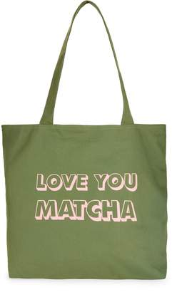 Jade & Deer Love You Matcha Open-Top Cotton Tote