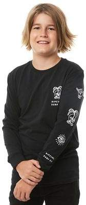 Rip Curl New Boys Kids Boys Stacked Ls Tee Long Sleeve Cotton Jersey Black