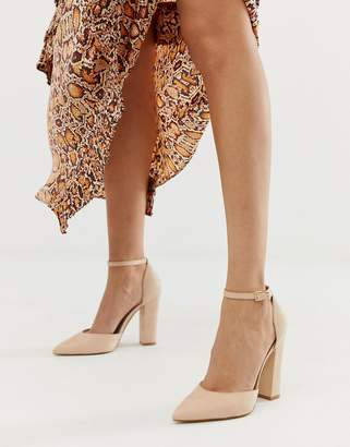 44117d7eff19 Aldo Nicholes block heeled court shoes with ankle strap in beige
