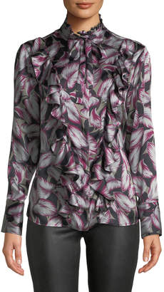 Kiton Tie-Neck Ruffled Leaf-Print Silk Blouse