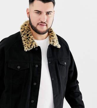 Asos DESIGN Plus denim jacket with leopard print faux fur collar