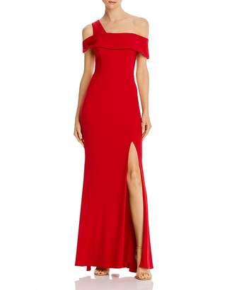Aqua Off-the-Shoulder Single-Strap Gown - 100% Exclusive