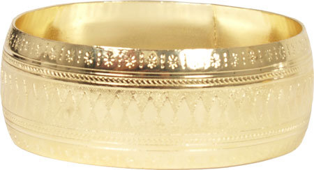 Gold Textured Wide Bangle