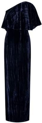 Adrianna Papell Velvet One Shoulder Gown