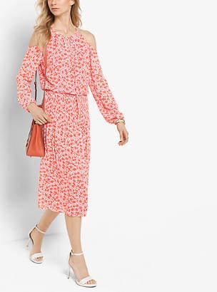 Michael Kors Floral-Print Peekaboo Tie-Neck Dress
