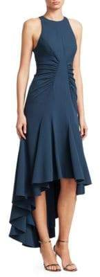 Halston Ruched High-Low Dress