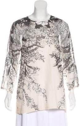 Lela Rose Floral Long Sleeve Top