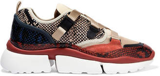 Chloé Sonnie Canvas, Mesh, Suede And Leather Sneakers - Snake print