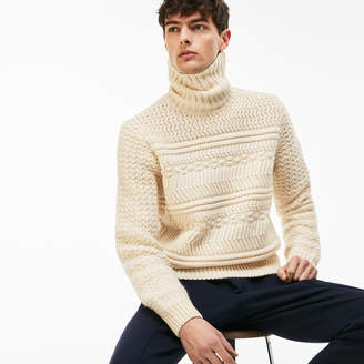 Lacoste Men's LIVE Cable Knit Wool Turtleneck Sweater