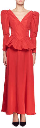 Stella McCartney Nathaly Long-Sleeve V-Neck Peplum-Waist Evening Gown