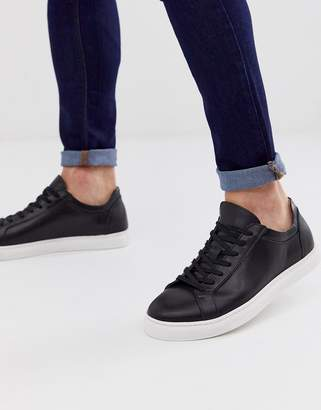 Selected leather trainer with contrast sole in black