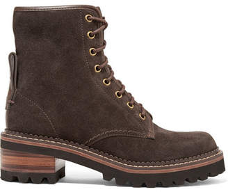 See by Chloe Leather-trimmed Suede Ankle Boots - Dark brown