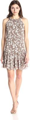 MSK Women's Scrunched Neck Flounce Woven Dress with Large Paisley Print