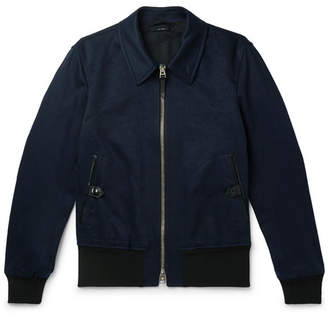 Slim-Fit Leather-Trimmed Cotton And Linen-Blend Twill Bomber Jacket