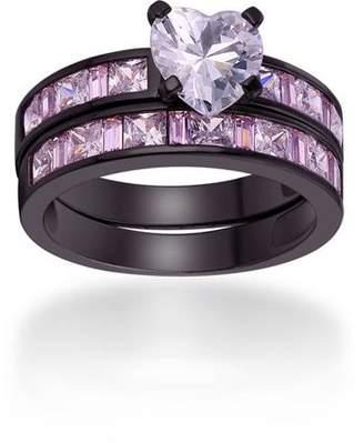 Peermont 1.5 Carat T.G.W. Heart-Cut CZ Black Rhodium-Tone Engagement Ring