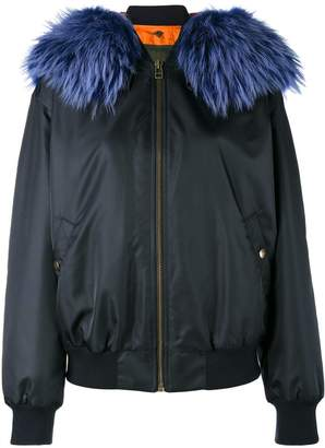 Mr & Mrs Italy Blue fur trimmed bomber jacket