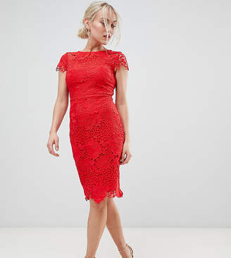 Paper Dolls Petite cap sleeve crochet lace pencil dress in red