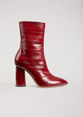 Emporio Armani Ankle Boot In Eel Skin With Geometric Heel