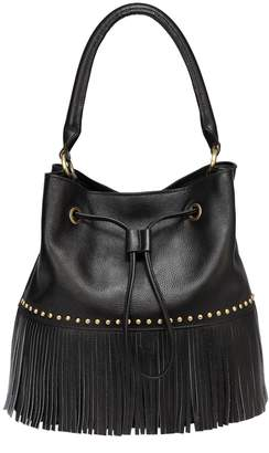 Vicenzo Leather Zurie Leather Fringe Bucket Bag