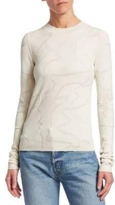 Helmut Lang Textured Jacquard Long Sleeve Top