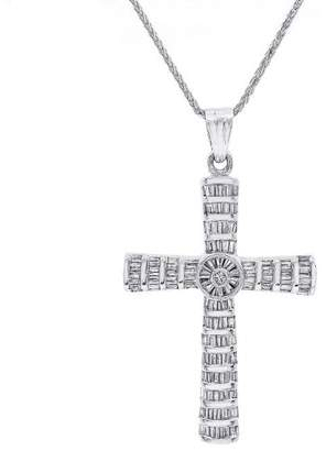 14K and 10K White Gold Baguette Diamonds Pendant Necklace
