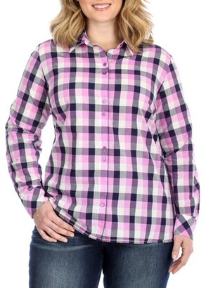 Lee Riders Women's Plus Long Sleeve Double Button Shirt
